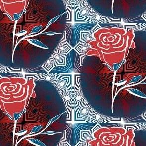 Square Diamond Rose Red White Blue