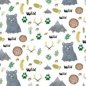 Watercolor Woodland Bear