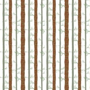 Birch Trees in Brown and Green