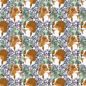 Floral Australian Shepherd portraits B
