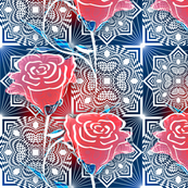 Square Diamond Rose Small More Blue