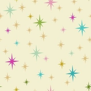 Vintage Christmas Stars in Retro Colors