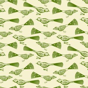 Glass bird ornaments in Green