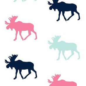 multi moose || pink on white