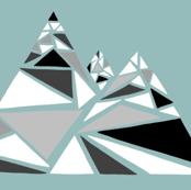 Geometric Grayscale Mountain