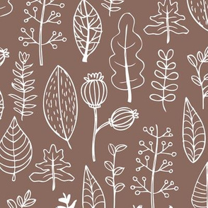 Soft fall winter garden leaf and flowers scandinavian style illustration print brown