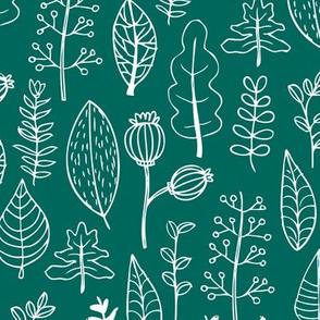Soft fall winter garden leaf and flowers scandinavian style illustration print green teal