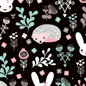 Adorable fall blossom flower garden easter bunny and hedgehog illustration print for little girls