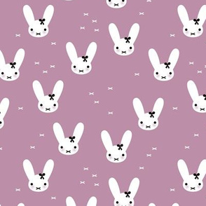 Super cute baby bunny sweet bow rabbit illustration print for kids lilac fall