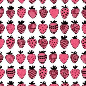 Farmers market summer strawberry fruit hearts print hot pink