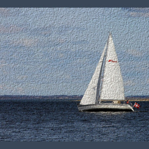 sailboat panel, tea towel