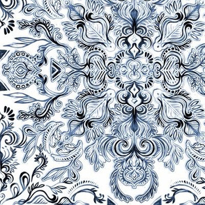 Indigo, Navy Blue and White Calligraphy Doodle Pattern