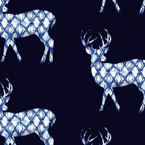 Shibori Deer in Navy