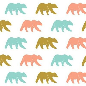 multi bear (small scale) || coral,teal,gold