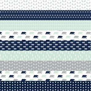 Northern Lights Bear V2 Wholecloth Quilt top