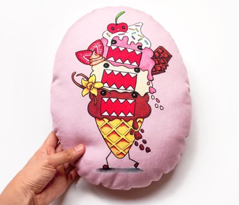 Domo Neapolitan Ice Cream Pillow – Egg Shape