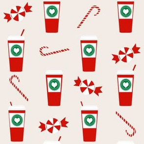 christmas peppermint latte candy cane holly cute coffee latte christmas peppermints