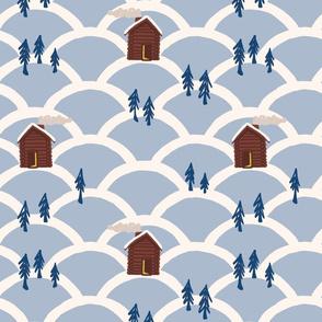 snowy cabin xmas