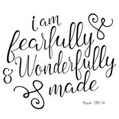 minky fabric 4 block - I am fearfully and wonderfully made typography
