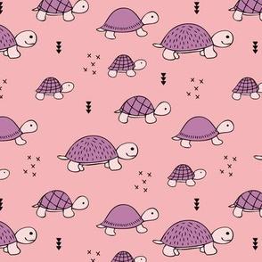 Cute baby turtle pura vida animals collection turtles  tortoise  illustration for kids pink