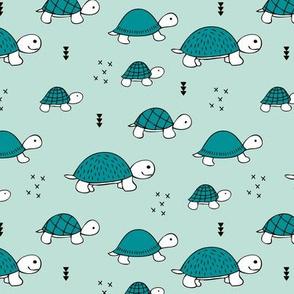 Cute baby turtle pura vida animals collection turtles  tortoise  illustration for kids mint blue