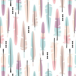 Geometric vintage feathers pastel arrows in pink and lilac illustration pattern