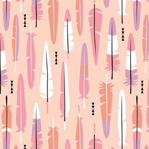 Geometric vintage feathers pastel arrows in pink and orange illustration pattern