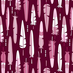 Geometric vintage feathers pastel arrows in pink and cherry illustration pattern