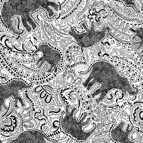 Paisley Elephant - Medium size