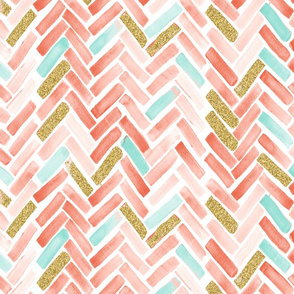 coral mint gold herringbone