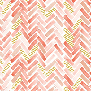 coral peach gold herringbone