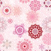 spiral snowflakes - pink