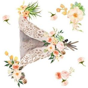 """Floral Aztec Teepee Large 8"""" Sideways"""