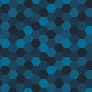 Hexagon Cheater Quilt (Deep Indigo)