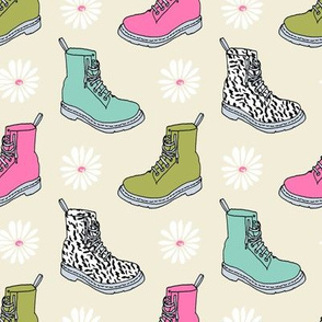 90s shoes // boots shoes fashion 90s fashion throwback retro daisies girls pink and green fashion print