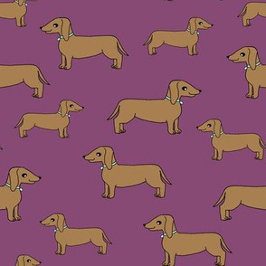 dachshund // dog purple dog cute sweet doxie dog fabric adorable pet wiener dog