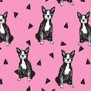 boston terrier // boston terriers pink girls sweet pet dog dog breed fabric