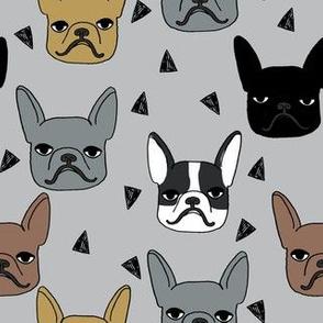 frenchie // french bulldog grey dog dog breed fabric dogs dog fabric