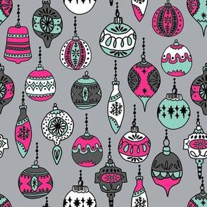 christmas ornaments // christmas holiday xmas holiday vintage hand-drawn illustration christmas ornaments