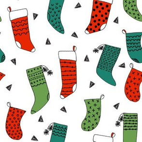 stockings // red and green christmas stocking, christmas print, christmas fabric, sweet christmas design by andrea lauren