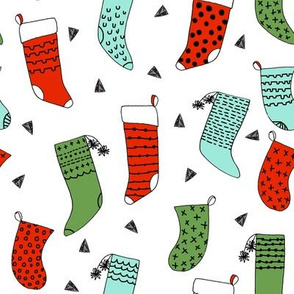 stockings // christmas stocking, christmas fabric, christmas, hand-drawn illustration by andrea lauren, andrea lauren fabric, red and green, cute kids christmas fabric