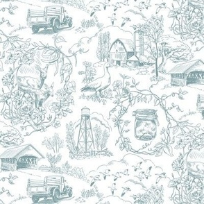 Country Toile Jamestown Blue