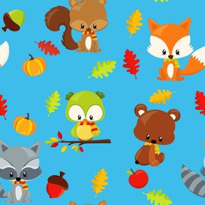 Woodland animals in scarves