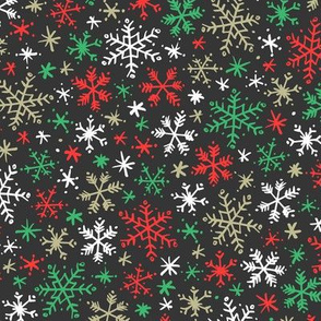 Snowfall (Dark Red and Green)