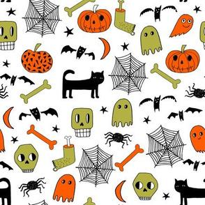 halloween // halloween fabric orange and black halloween scary spooky pumpkin bat spider ghost hand-drawn andrea lauren fabric