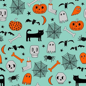 halloween // mint and orange halloween skull pumpkin bat spider spiderwebs ghosts bats andrea lauren fabric