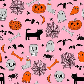 halloween // pink and orange halloween fabric hand-drawn illustration cat skull spider bats hand-drawn illustration andrea lauren fabric