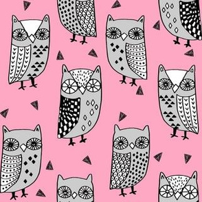 owl // owls fabric owl design owl pink and grey owls illustration andrea lauren andrea lauren fabric