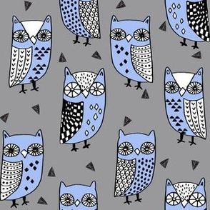 owls // owl owl fabric owls fabric grey and blue andrea lauren illustration andrea lauren fabric