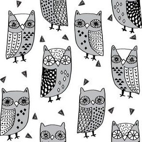owls // owl autumn bird birds fall illustration andrea lauren fabric